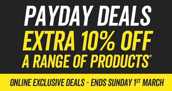 Payday deals - Extra 10% off a range of products